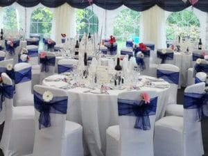 Chairs with chair covers and linens